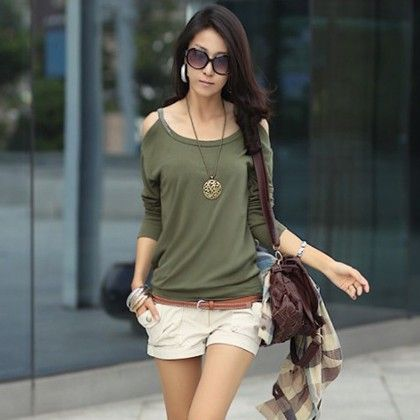Off The Shoulder Green Color Tops - STUPA FASHION