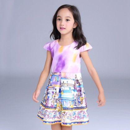 Pretty Printed Purple Dress - Mauve Collection