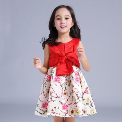 Red Bow Knot Dress With Prints - Mauve Collection