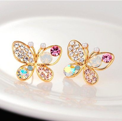 Golden Butterfly Stud Earring - The Purple Present