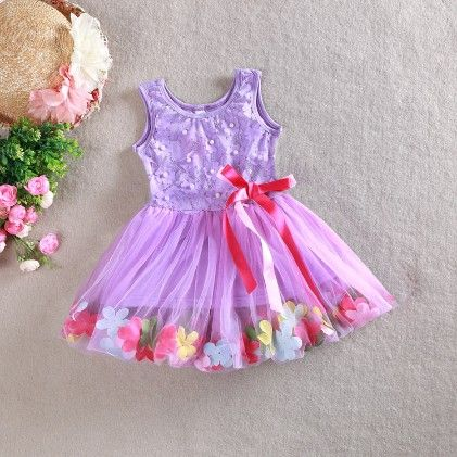 Party Dress With Lace And Flower - Purple - Love Baby