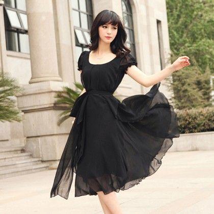 Party Evening Chiffon Dress  - Black - STUPA FASHION