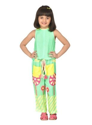 Sea Green Pretty Jumpsuit With Floral Neckline - Masaba For Magic Fairy