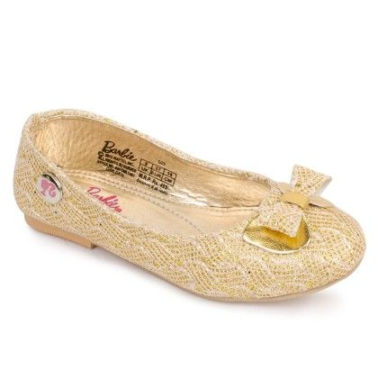 Golden Barbie Ballerina Shoes Bow Design - Disney - Bioworld