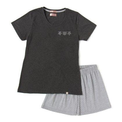 Dark Grey Top With Polka Dotted Shorts Set - Sheer Love