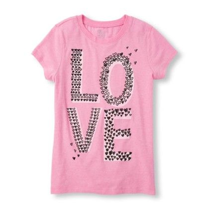 Pink Girls Short Sleeve Glow-in-the-dark Love Graphic Tee - The Children's Place