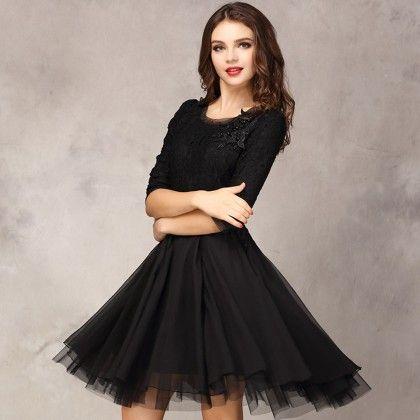 Lace Dresse - Black - STUPA FASHION