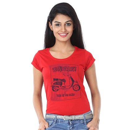 Women Wonderlust Print Red T-shirt - BonOrganik