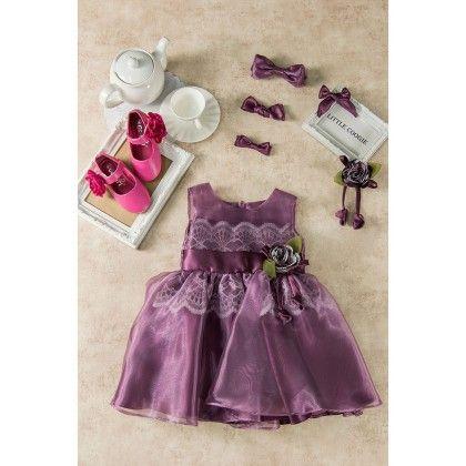 Purple Lace Yoke Dress - Little Coogie