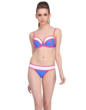 Clovia 2 Piece Polyamide Swimsuit Of Balconette Bra & Bikini In Navy