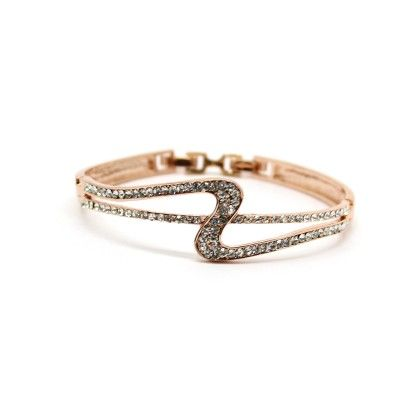 Rose Gold Plated Bracelet With Bright White Stones - Eternz