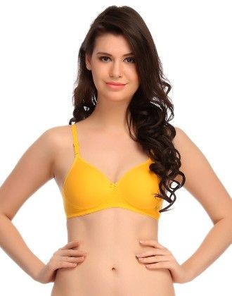 Clovia Lycra & Cotton Bra In Yellow