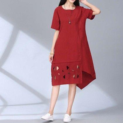 Elegant Red Summer Dress - Dell's World
