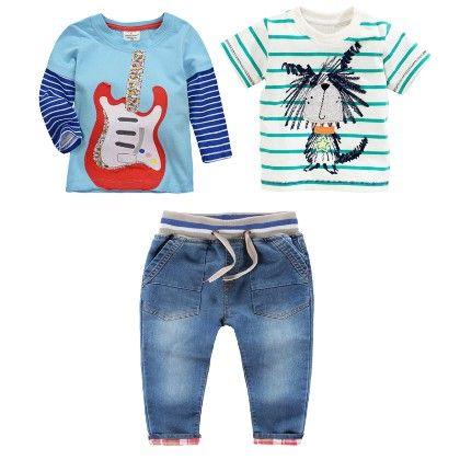 Boy's 3 Piece Blue And White Printed T-shirts And Denim Set - Dapper Dudes