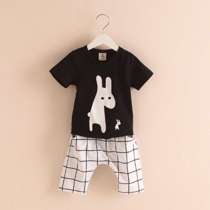 Black Printed Tshirt & Check Printed Pants - Mauve Collection
