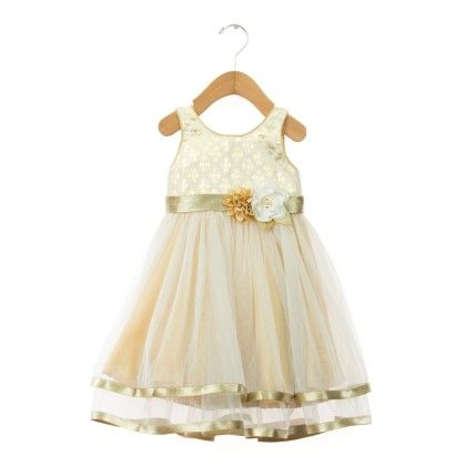 Flower Applique White Dress With Satin Hemline - Kaia Fashion