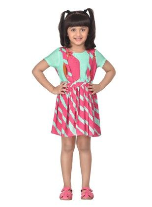 Jellybean Stripes Blue Suspender Skirt With Top - Masaba For Magic Fairy