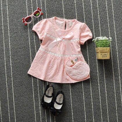 Light Pink Satin Bow Applique Dress - QQ
