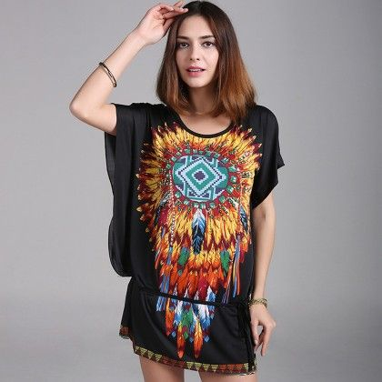 O-neck Short Sleeve Women Dress Or Top - Black - Style O Style