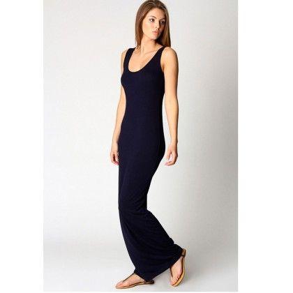 Round Neck Ladies Long Maxi Dress - Black - STUPA FASHION