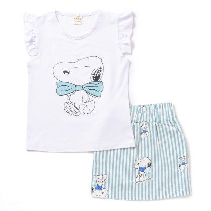 Blue Dog Printed Top And Skirt Set - Lil Mantra