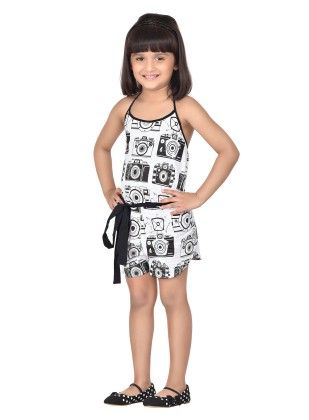 Black Camera Print Playsuit With Bow - Masaba For Magic Fairy