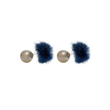 Silver Plated Off- White Pearl With Blue Feather Studs - Eternz