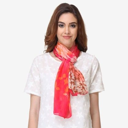 Multi Colored Chiffon Printed Scarf - Varanga - 325758