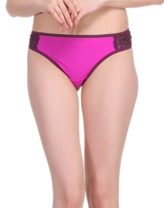 Clovia Polyamide & Lace Bikini Brief In Purple
