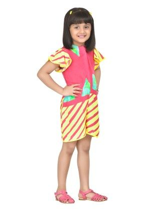 Fruitpunch Stripes Yellow Frill Sleeve Playsuit - Masaba For Magic Fairy