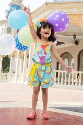 Marshmellow Burst Baby Blue Playsuit With Bow - Masaba For Magic Fairy