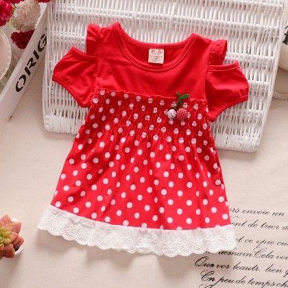 Trendy Red Polka Dot Dress - H