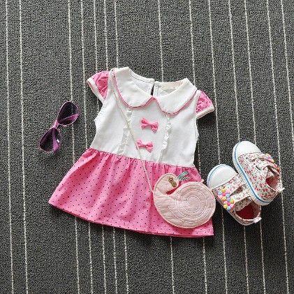 Pink Polka Dot Dress With Peter Pan Collar - Xia
