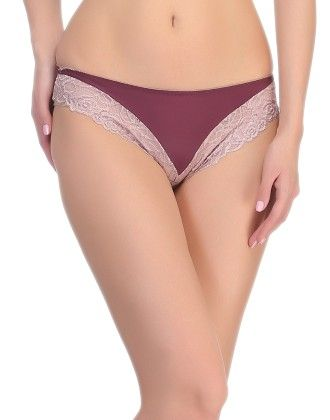 Clovia Polyamide And Lace Bikini In Dark Purple