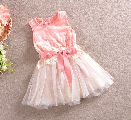 Beautiful Pink Patterned Dress With Bow - Love Baby