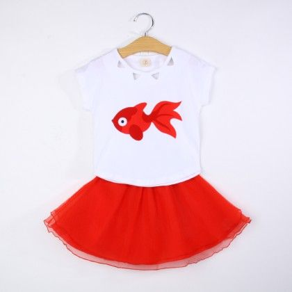 Cute Fish Print Top And Skirt Set - Red