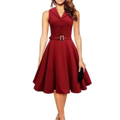 Elegant Dress Sleeveless Party Dress - Wine Red - STUPA FASHION