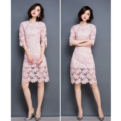 Zippers Half Lace Flowers Bodycon Midi Dress - Pink - STUPA FASHION