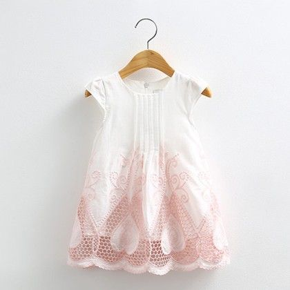 Pretty White With Cut Work Dress - Mauve Collection