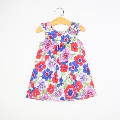 Beautiful Flower Print Ruffle Neck Dress - Blue - NEAT