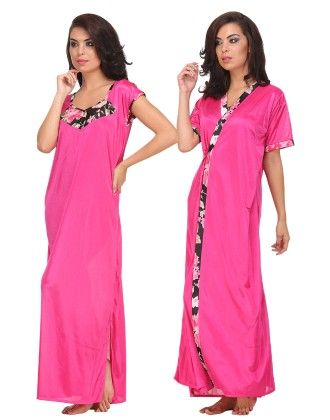 Long Satin Robe And Nightdress With Floral Black Print - Clovia