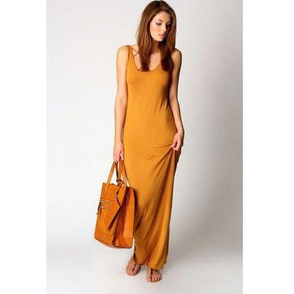 Round Neck Ladies Long Maxi Dress - Yellow - STUPA FASHION