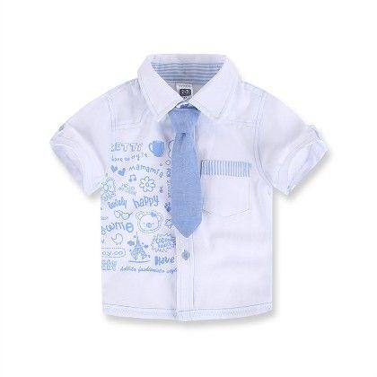 Boy's Cartoon Print Shirt With Tie- White - Laz DG