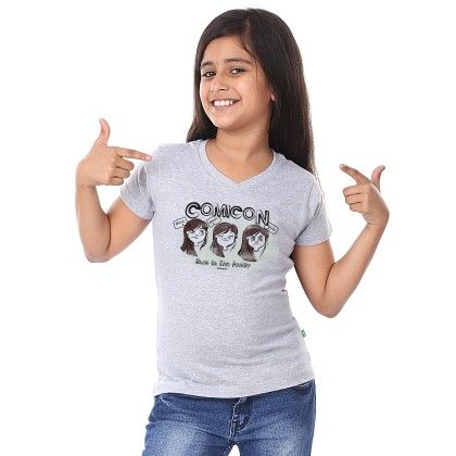 Girl's Comicon Print Grey T-shirt - BonOrganik