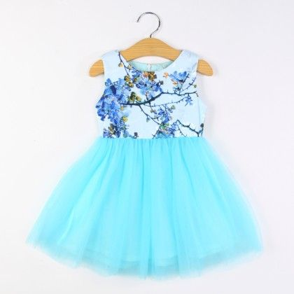 Cute Blue Floral Print Tutu Dress - Nublc