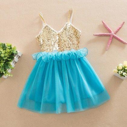 Designer Party Wear Dress - Blue - Love Baby