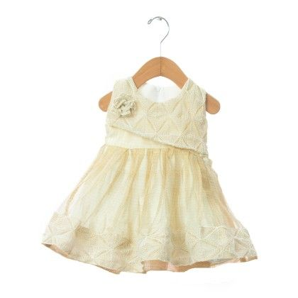 Tissue Frock With Threadwork On The Top - TINY TODDLER
