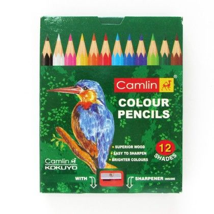 Camlin Half Size Colour Pencil -12 Shades With 1 Sharpner