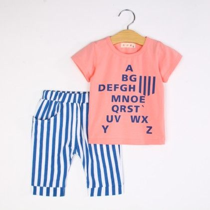 Peach Alphabet Print T-shirt And Pant Set - Bobkids