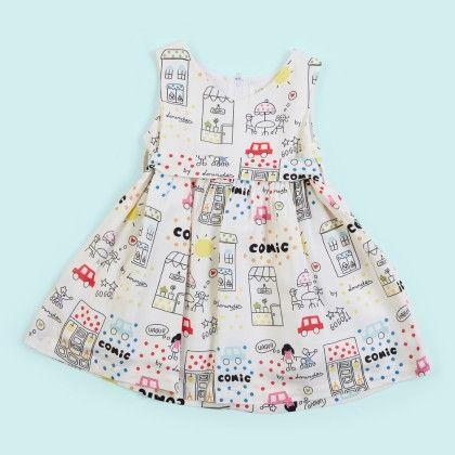 White Comic Print Allover Dress - Lourdes